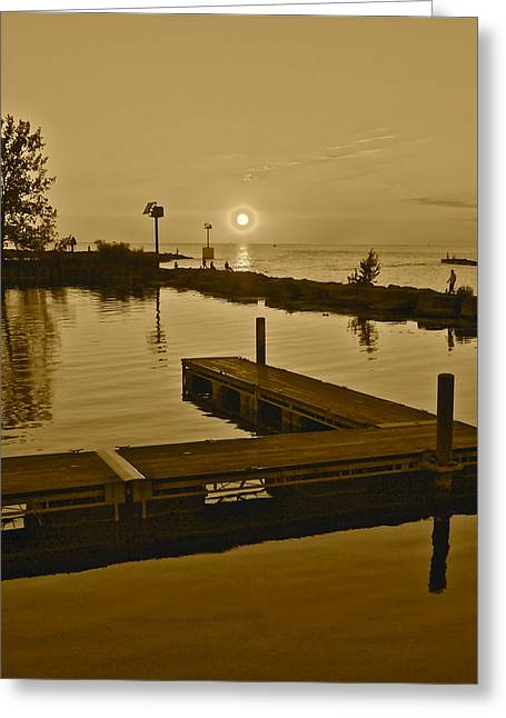 Docked Sailboat Greeting Cards - Sepia Sunset Greeting Card by Frozen in Time Fine Art Photography