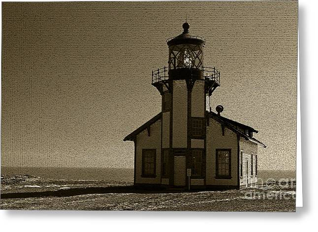 Illuminate Pastels Greeting Cards - Sepia/Textured Point Cabrillo Lighthouse Greeting Card by Jacqueline Barden
