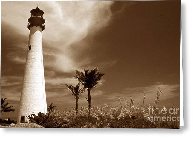Sepia Tone Cape Florida Light Greeting Card by Skip Willits