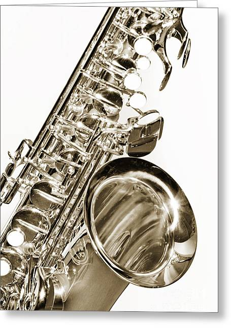 Combo Greeting Cards - Sepia Tone Photograph of a Tenor Saxophone 3356.01 Greeting Card by M K  Miller
