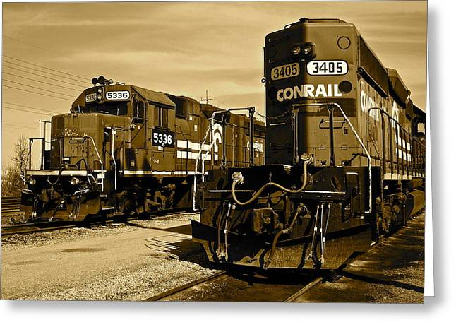 Old Caboose Greeting Cards - Sepia Trains Greeting Card by Frozen in Time Fine Art Photography