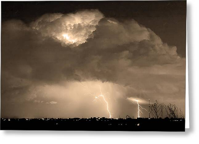 Photography Lightning Greeting Cards - SepiaThunderstorm Boulder County Colorado   Greeting Card by James BO  Insogna