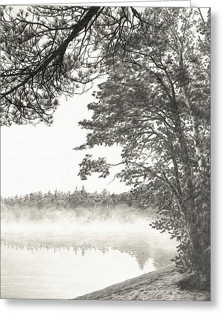 Maine Landscape Drawings Greeting Cards - September Frost Greeting Card by Jason Kuvaja