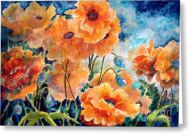 Red Leaves Mixed Media Greeting Cards - September Orange Poppies            Greeting Card by Kathy Braud