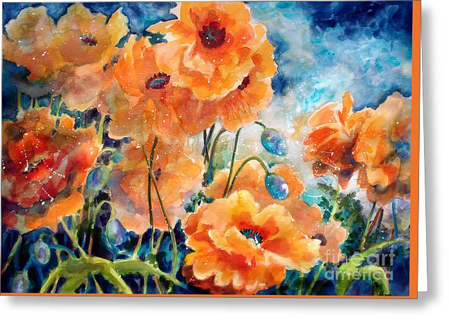 Color Colorful Mixed Media Greeting Cards - September Orange Poppies            Greeting Card by Kathy Braud