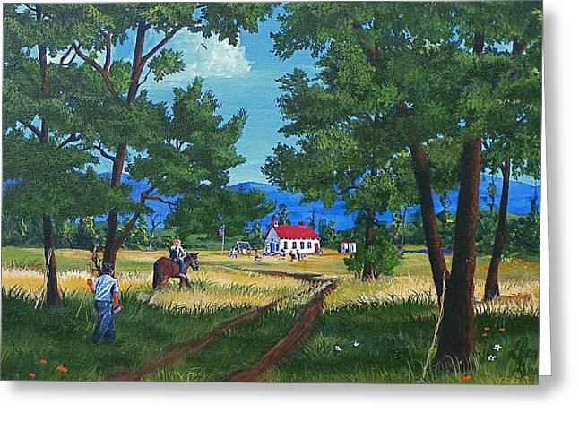 One Room School Houses Paintings Greeting Cards - September Preparation Greeting Card by Glen Gray
