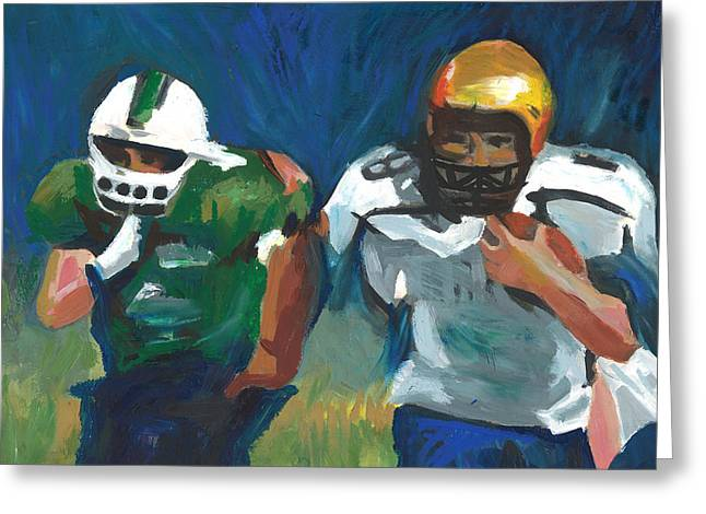 Football Pastels Greeting Cards - September Spirit Greeting Card by Mary C Haneline