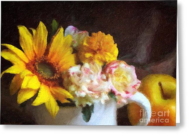 Yellow Sunflower Greeting Cards - September Still Life Greeting Card by Lianne Schneider