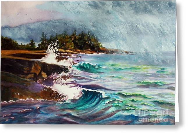 Grey Clouds Greeting Cards - September Storm Lake Superior Greeting Card by Kathy Braud