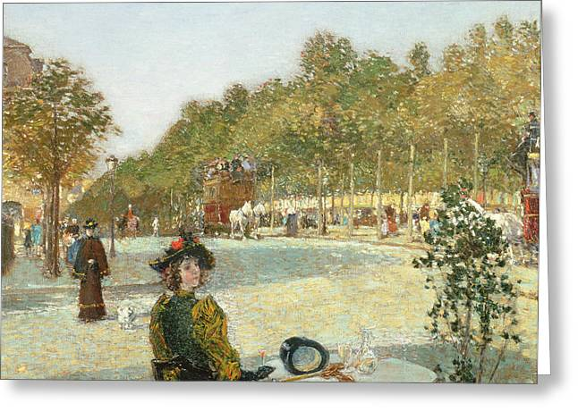 Seated Greeting Cards - September Sunlight, Paris Greeting Card by Childe Hassam