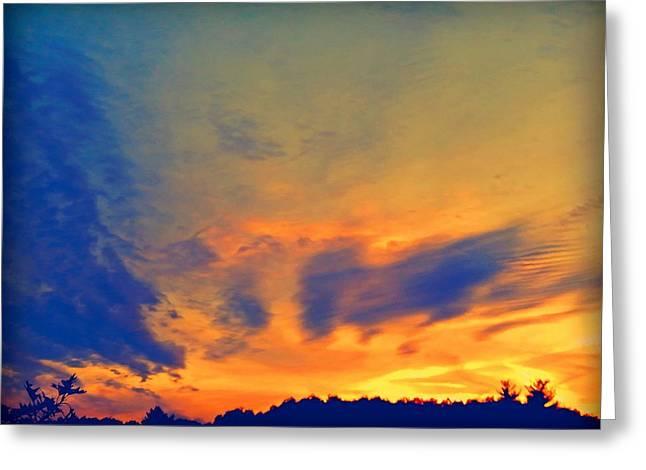 Photos Of Autumn Mixed Media Greeting Cards - September Sunset Greeting Card by Lilia D