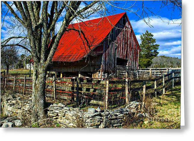 Tin Roof Greeting Cards - Sequatchie Valley Barn Greeting Card by Paul Mashburn