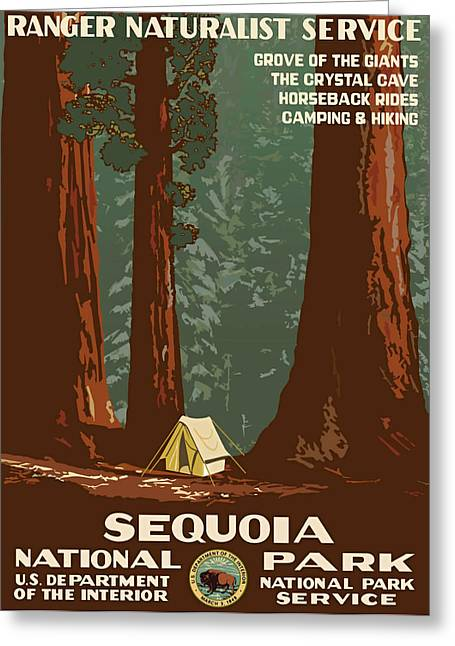Wpa Prints Greeting Cards - Sequoia National Park Greeting Card by Vintage Printery