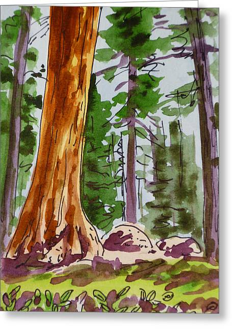 Giant Trees Greeting Cards - Sequoia Park - California Sketchbook Project  Greeting Card by Irina Sztukowski