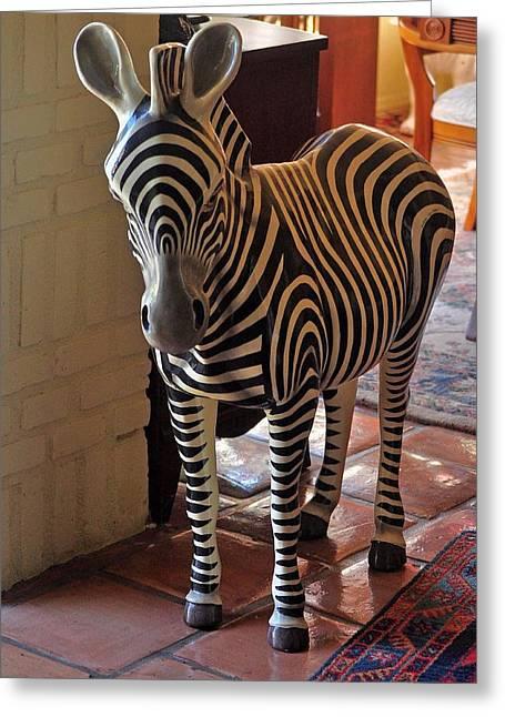 Paper Mache Greeting Cards - Ser-mel Paper Mache Zebra Greeting Card by Jay Milo
