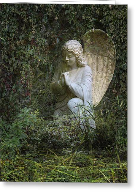 Seraphim Angel Photographs Greeting Cards - Seraphim Angel Garden Greeting Card by Ella Kaye Dickey
