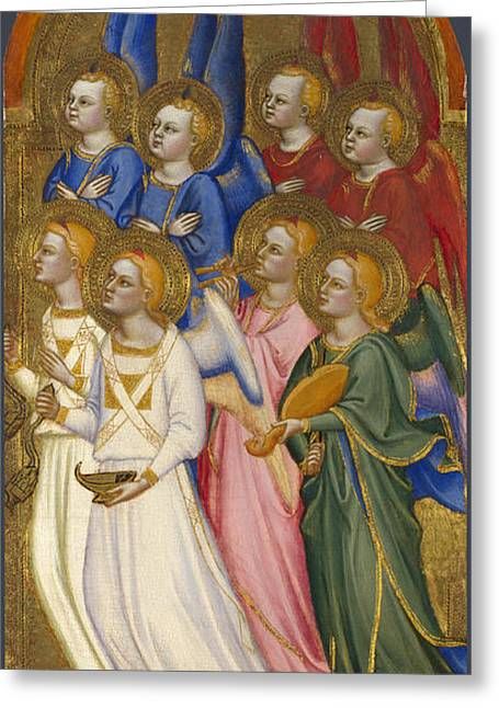 Seraphim Angel Paintings Greeting Cards - Seraphim Cherubim and Adoring Angels Greeting Card by Jacopo di Cione and Workshop