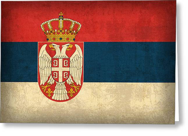 National Mixed Media Greeting Cards - Serbia Flag Vintage Distressed Finish Greeting Card by Design Turnpike