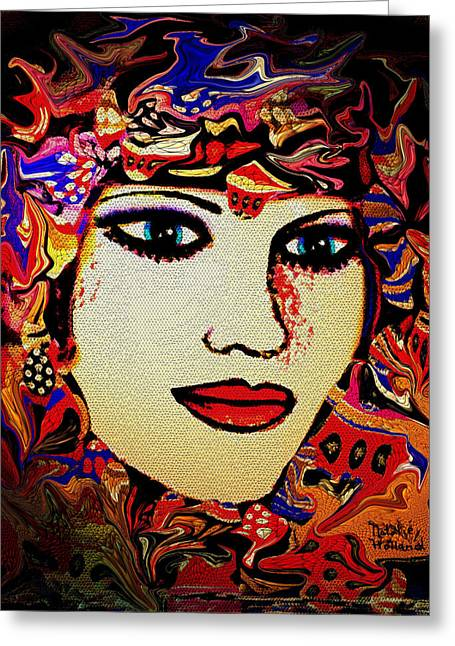 Gold Earrings Greeting Cards - Serena Greeting Card by Natalie Holland