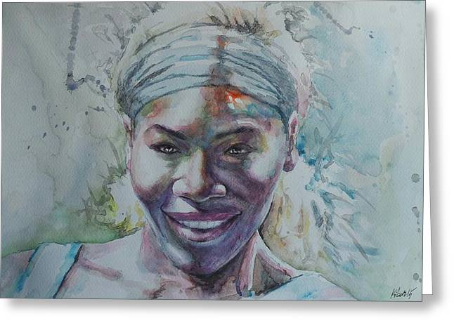 French Open Paintings Greeting Cards - Serena Williams - Portrait 1 Greeting Card by Baresh Kebar - Kibar