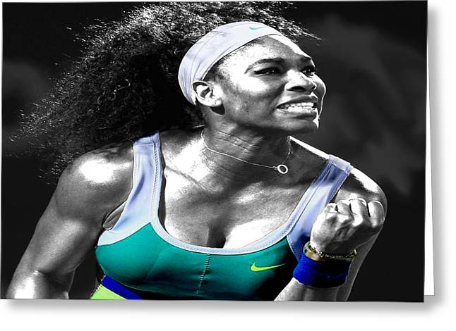 Serena Williams Ace Greeting Card by Brian Reaves