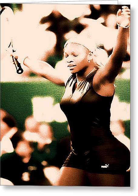 Best Sellers -  - French Open Mixed Media Greeting Cards - Serena Williams Catsuit III Greeting Card by Brian Reaves