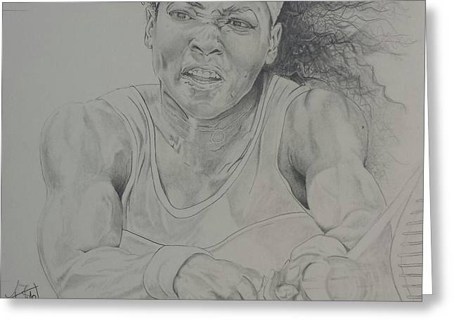 Wimbledon Drawings Greeting Cards - Serena Williams Greeting Card by DMo Herr