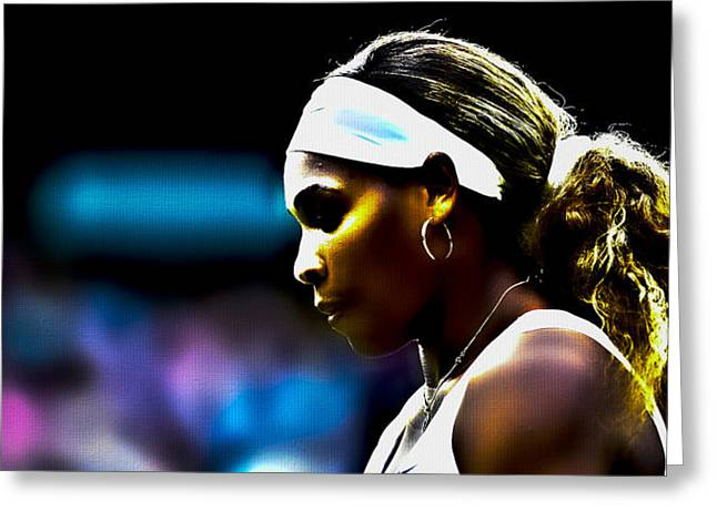 Serena Williams Greeting Cards - Serena Williams Focus Greeting Card by Brian Reaves