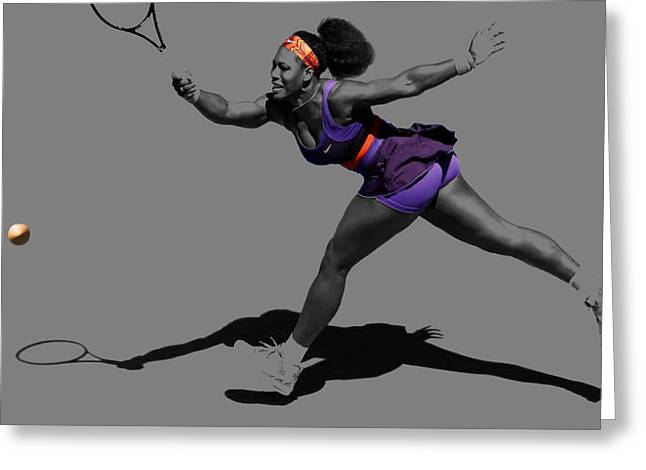 Wta Digital Greeting Cards - Serena Williams Getting It Done Greeting Card by Brian Reaves