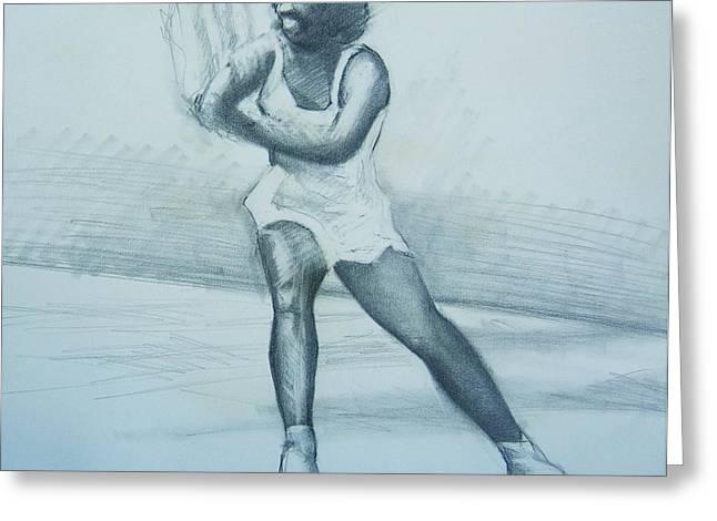 Serena Drawings Greeting Cards - Serena Williams Greeting Card by Howard Stroman