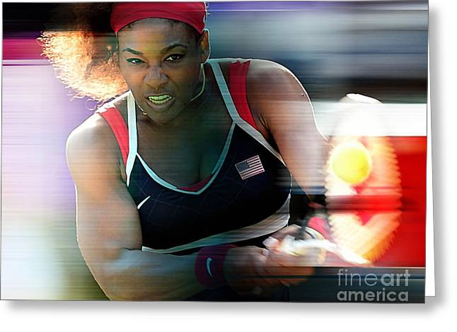 Australian Open Mixed Media Greeting Cards - Serena Williams Greeting Card by Marvin Blaine