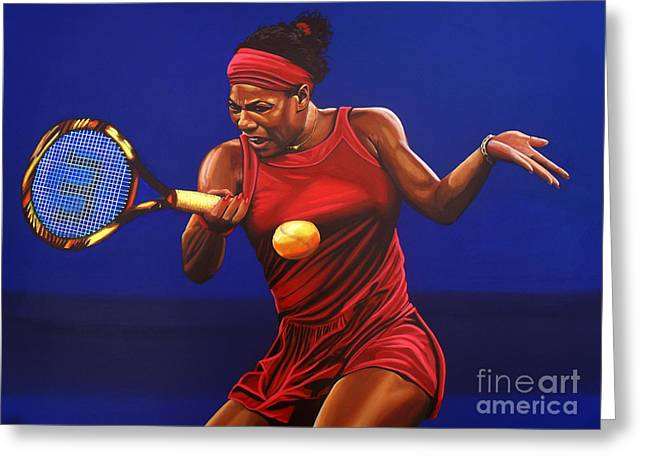 Us Open Greeting Cards - Serena Williams painting Greeting Card by Paul  Meijering