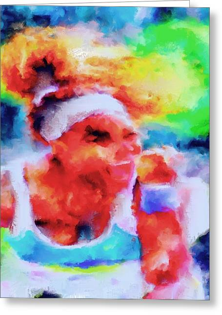 French Open Paintings Greeting Cards - Serena Williams Yes Greeting Card by Brian Reaves