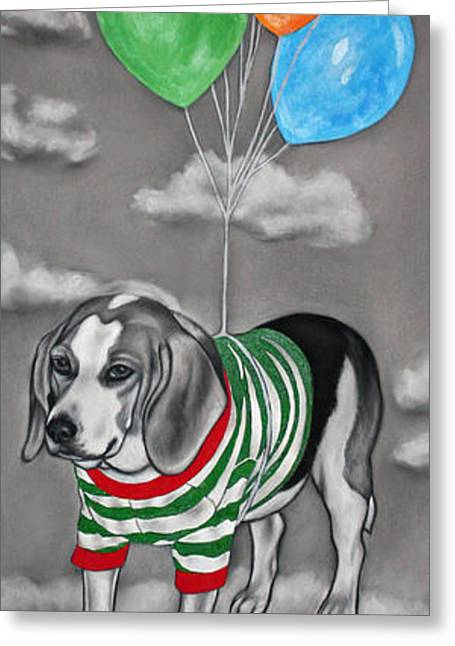 Puppies Mixed Media Greeting Cards - Serendipity Greeting Card by Courtney Kenny Porto