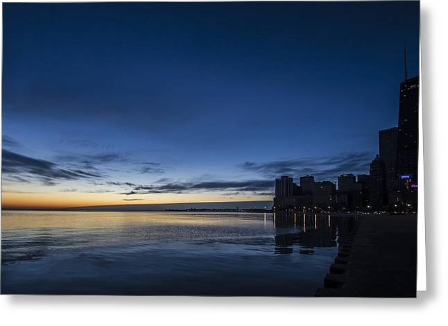 Lake Michgan Greeting Cards - Serene dawn scene in Chicago Greeting Card by Sven Brogren