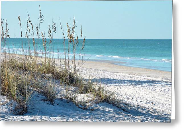 Blue Sky And Sand Greeting Cards - Serene Florida Beach Scene Greeting Card by Rebecca Brittain