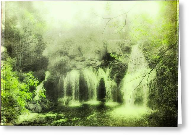 Akron Falls Greeting Cards - Serene Green Falls Greeting Card by Gothicolors Donna Snyder