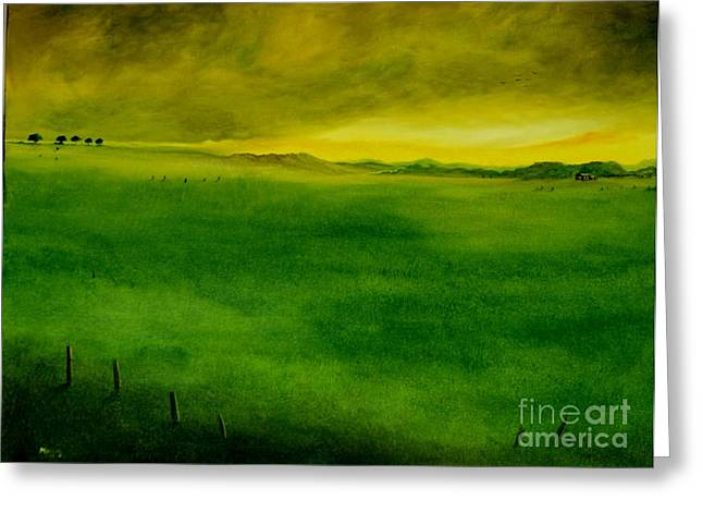 Abstract Nature Greeting Cards - Serene Landscape Greeting Card by Alicia Maury