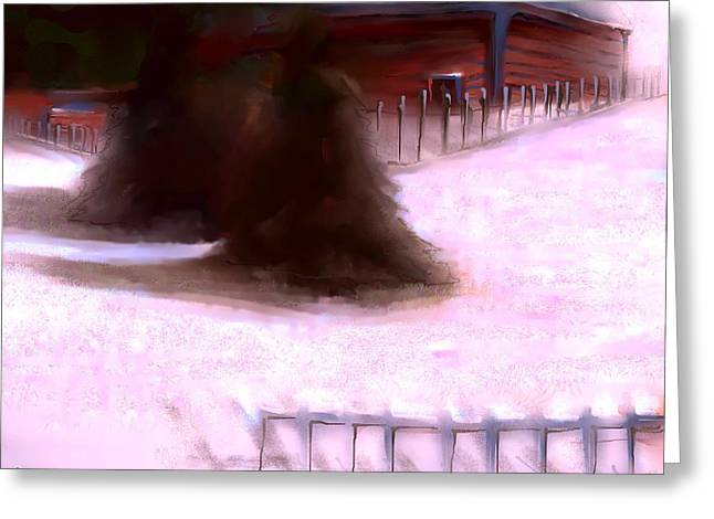 Log Cabin Mixed Media Greeting Cards - Serene New England Cabin in Winter #9 Greeting Card by Diane Strain
