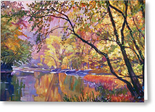 Red Fall Colors Greeting Cards - Serene Reflections Greeting Card by David Lloyd Glover