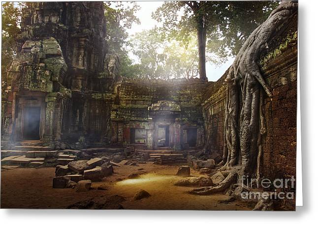 Temple Of Ta Prohm Greeting Cards - Serene Sanctuary Ta Prohm Temple Greeting Card by Istvan  Kadar