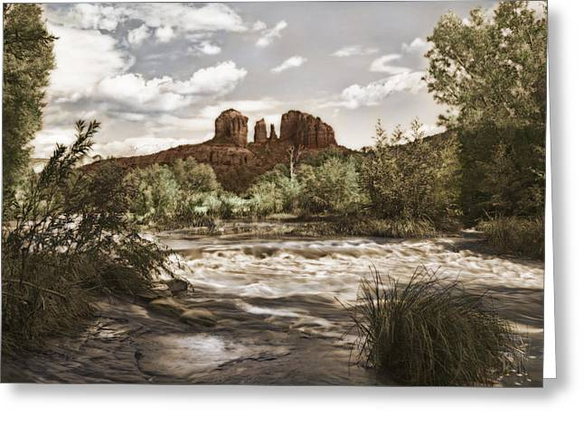 Red Rock Crossing Greeting Cards - Red Rock Crossing at Sedona Greeting Card by Priscilla Burgers