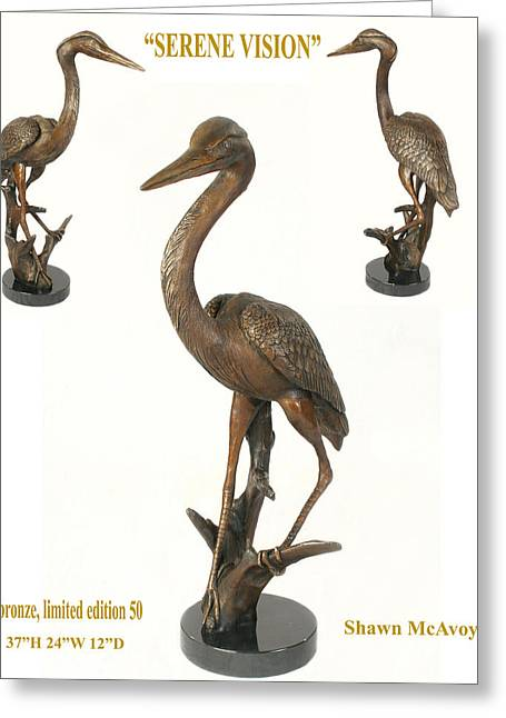 Great Sculptures Greeting Cards - Serene Vision Greeting Card by Shawn McAvoy