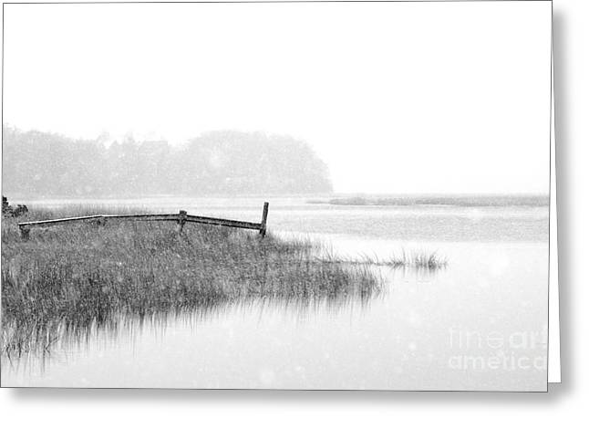 Winter Prints Greeting Cards - Serene Winter Seascape Greeting Card by AdSpice Studios