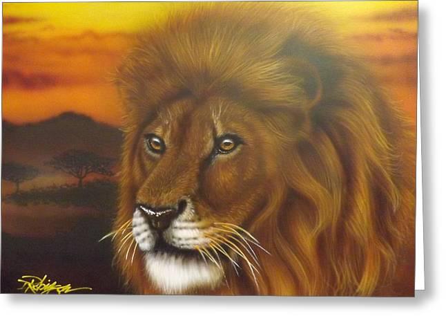 Darren Greeting Cards - Serengeti King Greeting Card by Darren Robinson