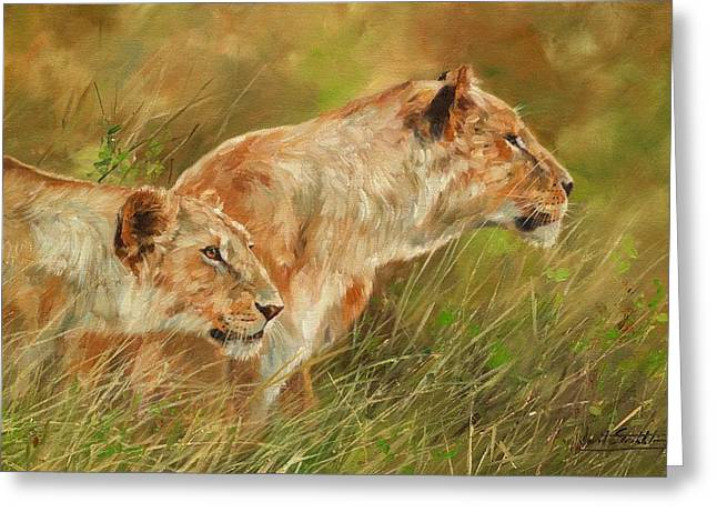Serengeti Sisters Greeting Card by David Stribbling