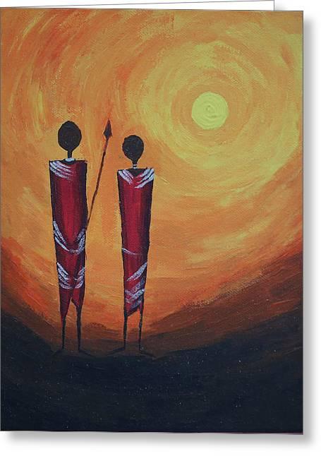 Fantastique Paintings Greeting Cards - Serengetti Sunrise Greeting Card by Prashanth Bala Ramachandra