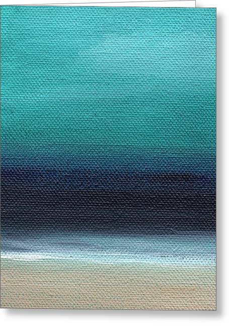 Beach White Greeting Cards - Serenity- Abstract Landscape Greeting Card by Linda Woods