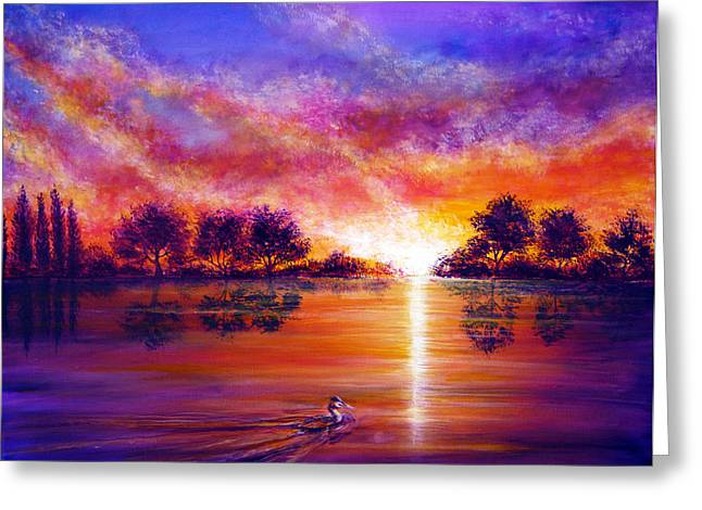 Kinkade Greeting Cards - Serenity Greeting Card by Ann Marie Bone