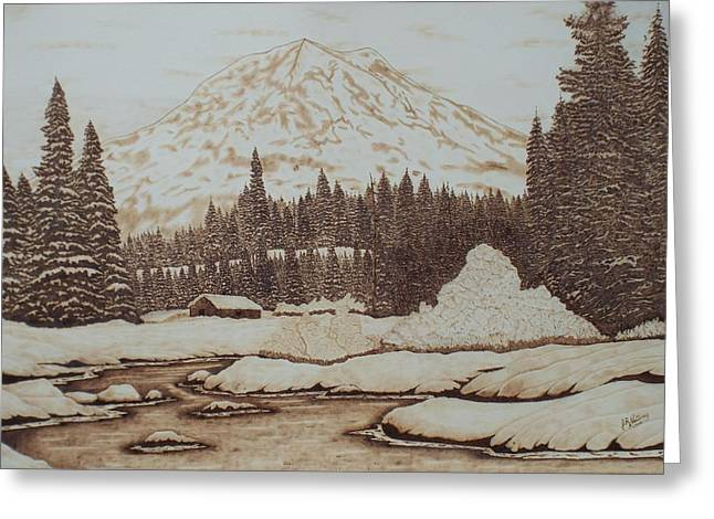 Mt Pyrography Greeting Cards - Serenity At Mt. Rainier Greeting Card by Jim Nutting